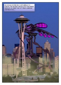 Alien mates with the Seattle Space Needle