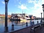 A shot of the harbor in Boston and a boat/restaurant thingie