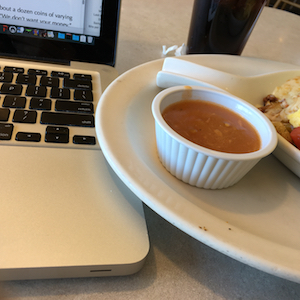 Writing at lunch