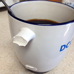 I broke my coffee cup and my mom spent a week in the hospital, not necessarily in that order